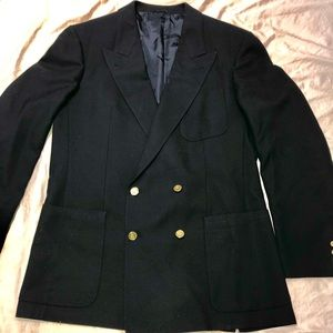 Burberry Navy Blazer Classic Wool Double Breast